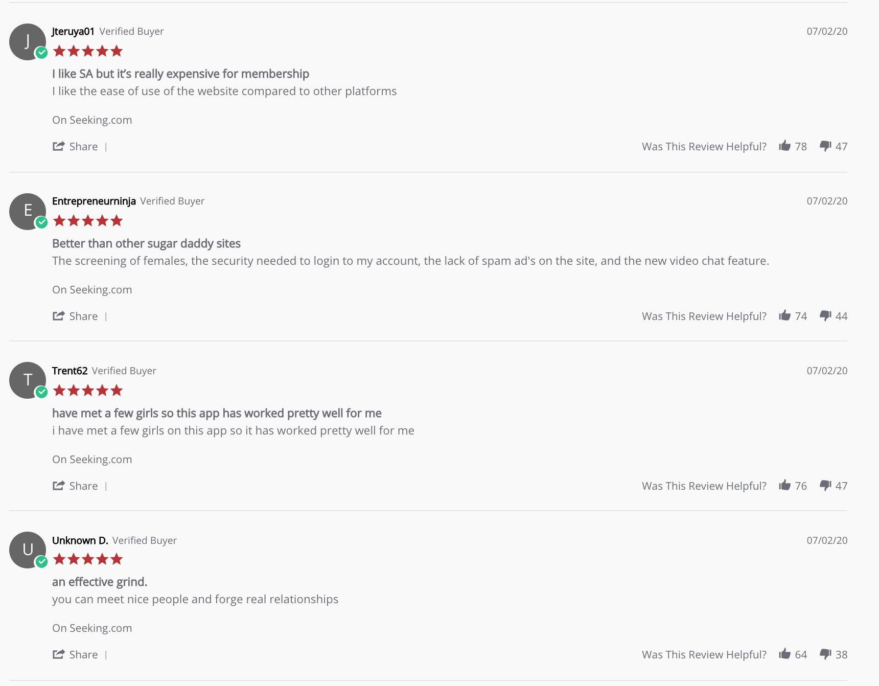 seeking arrangement customer reviews
