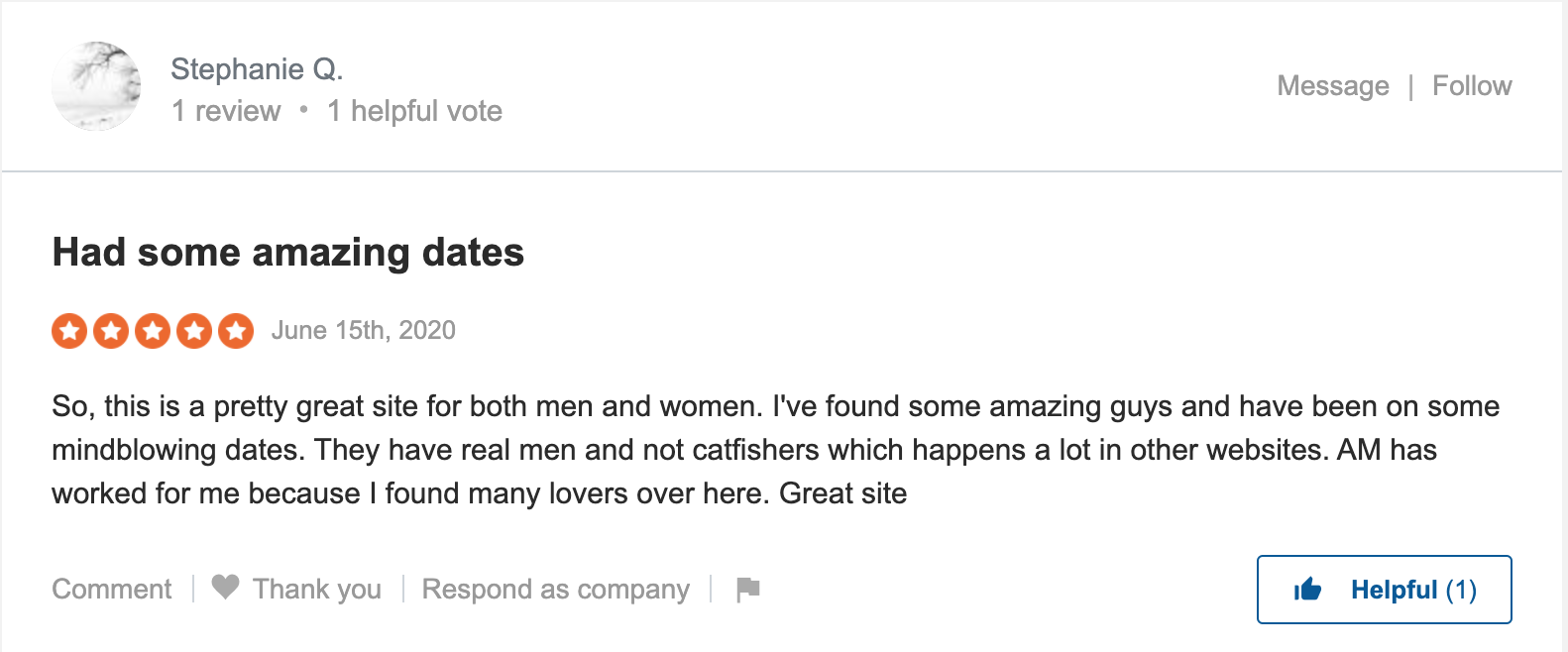 customer review of ashley madison service